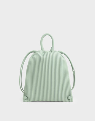 Charles & Keith Textured Drawstring Backpack