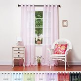 """Best Home Fashion Crushed Voile Sheer Curtains - Antique Bronze Grommet Top - Pink - 52""""W x 108""""L - (Set of 2 Panels)"""