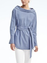 Banana Republic Stripe Button-Back Belted Shirt