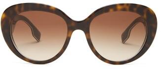 Burberry Round Acetate Sunglasses - Womens - Tortoiseshell