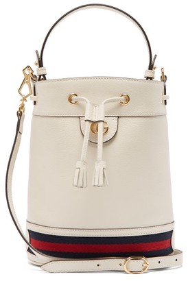 Gucci Ophidia Web-stripe Leather Bucket Bag - Womens - White