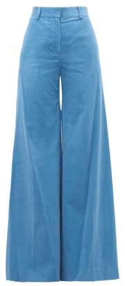 Bella Freud Bianca Cotton Corduroy Wide Leg Trousers - Womens - Blue