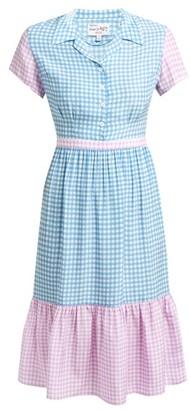 HVN Charlotte Contrast-panel Gingham Silk Dress - Blue Multi