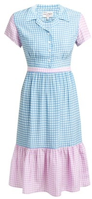 HVN Charlotte Contrast-panel Gingham Silk Dress - Womens - Blue Multi