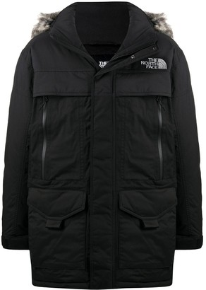The North Face Faux Fur Trimmed Logo Print Jacket
