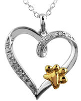 JCPenney FINE JEWELRY ASPCA Tender Voices Diamond-Accent Paw Print Heart Pendant Necklace