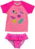 Carter's Girls 4-6x Graphic Rashguard & Polka-Dot Ruffled Bottoms Swimsuit Set