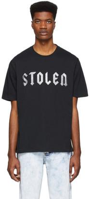 Stolen Girlfriends Club SSENSE Exclusive Black Glittered Logo T-Shirt