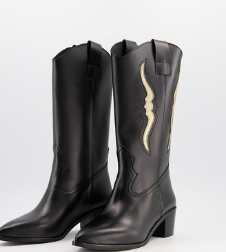 Depp Wide Fit knee high western boots in black leather