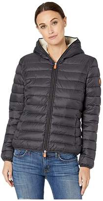 Save The Duck Giga 9 Hoodie Puffer Jacket with Sherpa Lining (Black) Women's Clothing