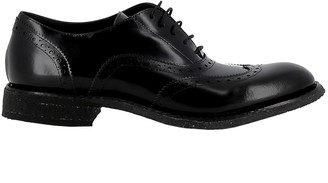 Roberto Del Carlo Womans Black Leather Lace-up Shoes