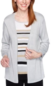 Alfred Dunner Petite Classics Metallic Layered-Look Sweater