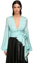 Alexandre Vauthier Wrapped Chiffon Satin Crop Blouse
