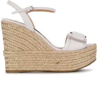 Sergio Rossi Raffia Wedge Sandals