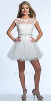 Dave and Johnny Angellic Lace Illusion Tulle Cocktail Dress