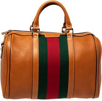 Gucci Tan Leather Medium Vintage Web Boston Bag
