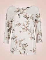 Marks and Spencer Printed 3/4 Sleeve Pyjama Top