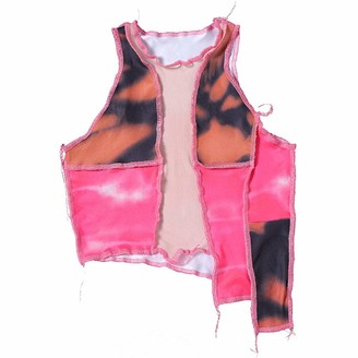 Madger Women Y2K Sexy Patchwork Crop Top See Through Mesh Tank Top Color Block Sleeveless Crop T-Shirt Top (Rose red L)
