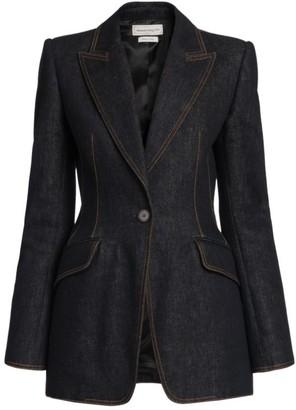Alexander McQueen Denim One-Button Jacket