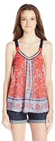 Jolt Women's Printed Front Knit Back Tank