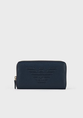 Emporio Armani Full-Zip Wallet With Embossed Maxi Logo