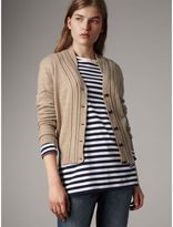 Burberry Cable Knit Detail Cashmere Cardigan, Beige