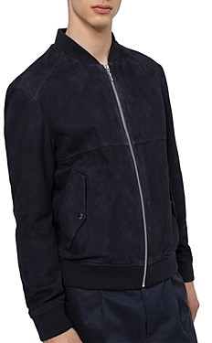 HUGO BOSS Slim Fit Dark Blue Leather Bomber Jacket