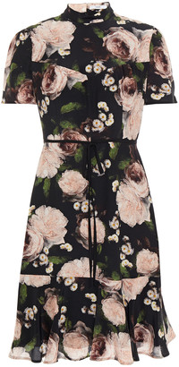 Erdem Anne Bow-detailed Floral-print Silk Crepe De Chine Mini Dress