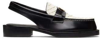 we11done Black and White Snake Slingback Loafers