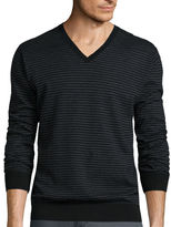 Claiborne Long-Sleeve Thermolite Striped V-Neck Sweater