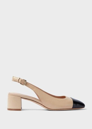 Hobbs Emily Leather Block Heel Slingback Court Shoes