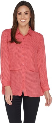 Joan Rivers Classics Collection Joan Rivers Pindot Button Front Layered Blouse