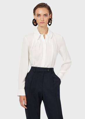 Emporio Armani Georgette Silk Faille Shirt With Pleats