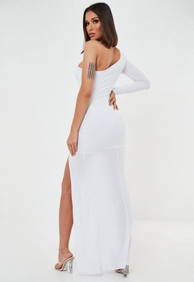 Missguided White Slinky One Sleeve Ruched Maxi Dress