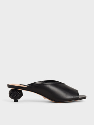 Charles & Keith Leather Sculptural Heel Open Toe Mules