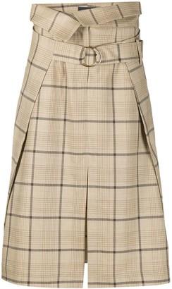 Eudon Choi Paperbag-Waist Check Skirt