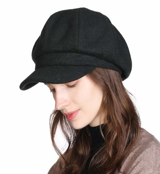 Jeff & Aimy Newsboy Winter Hats Cap Ladies Cabbie Beret Cancer Visor Hat for Women Black