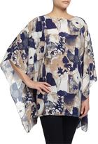 Neiman Marcus Abstract-Print 3/4-Sleeve Poncho, Navy/Brown