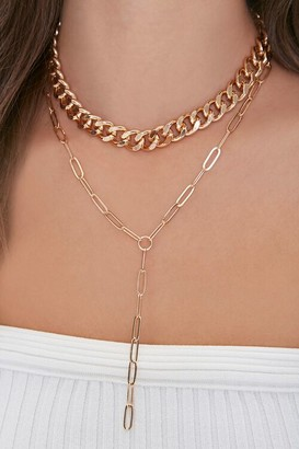 Forever 21 Drop Chain Layered Necklace