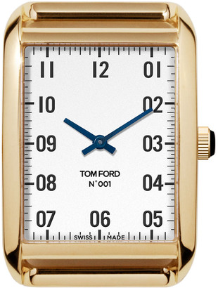 Tom Ford Timepieces 18k Gold Case, White Opaline Dial, Large