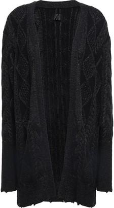 RtA Distressed Metallic Cable-knit Cotton Cardigan