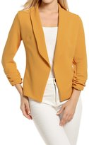 POGT Women's Basic Lightweight Thin 3/4 Sleeve Open-Front Blazer Coat (L, )