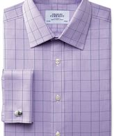 Charles Tyrwhitt Slim fit non-iron Prince of Wales lilac shirt