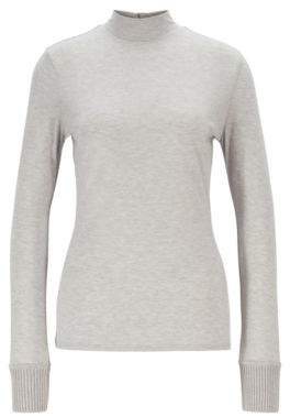 BOSS Slim-fit top with mock neck and knitted cuffs