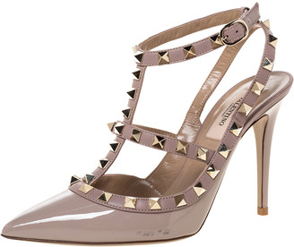 Valentino Beige Patent Leather Rockstud Strappy Pointed Toe Sandals Size 37.5