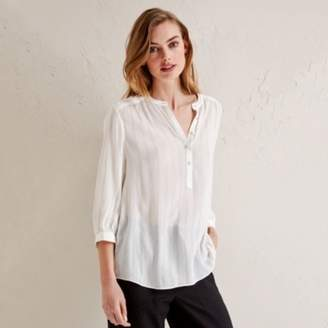 The White Company Metallic Stripe Blouse, Ivory, 16