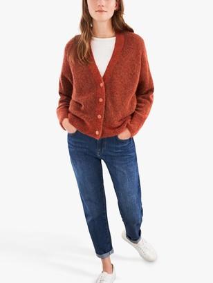 White Stuff Lucinda Fluffy V-Neck Cardigan, Dark Orange