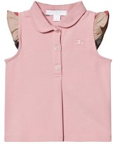 Burberry Pale Pink Polo with Frill Check Sleeves