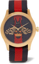Gucci Gold-Tone and Striped Webbing Watch