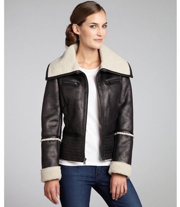 Marc New York black faux suede jacket with faux fur collar